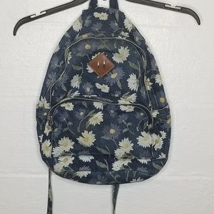 Denim Bookbag with Daisies /Floral print, Vintage